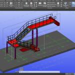 Scala in acciaio Realizzata in Autodesk Advance Steel. Modello 3D